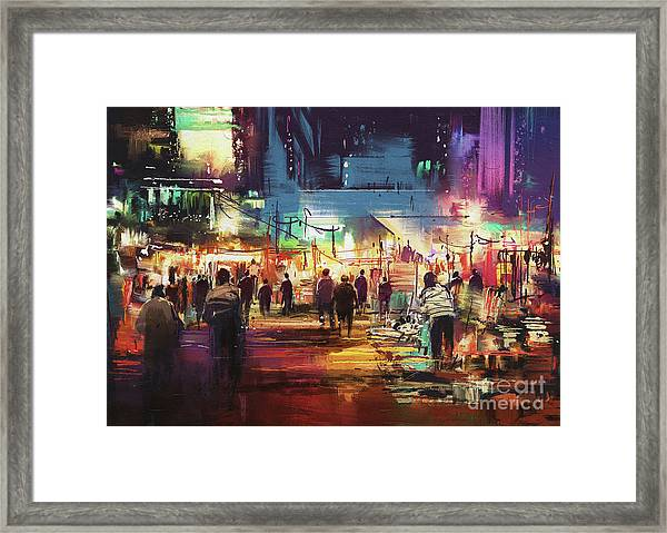 Framed Print featuring the painting Night Market by Tithi Luadthong