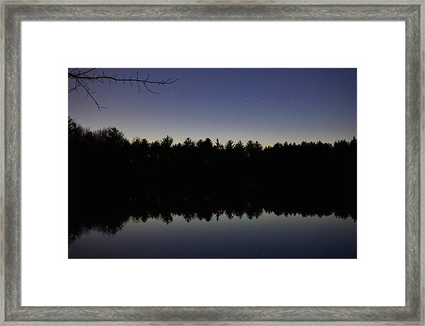 Night Reflects On The Pond Framed Print