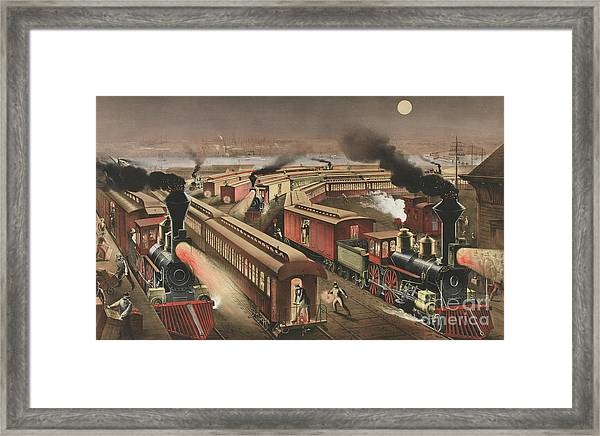 Night Scene At An American Railway Junction Framed Print