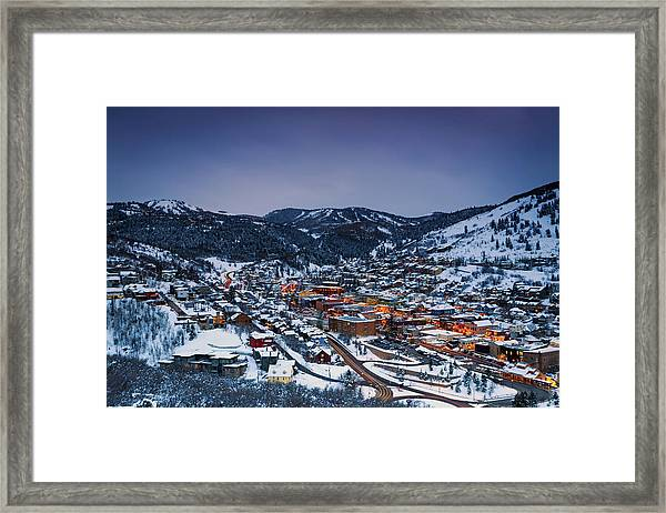 Night Scene In Park City Framed Print