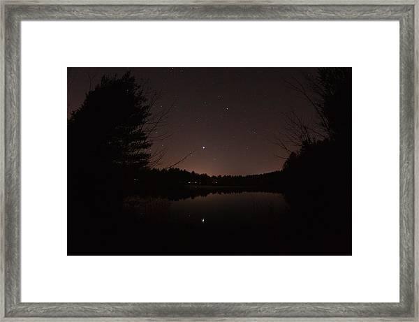 Night Sky Over The Pond Framed Print