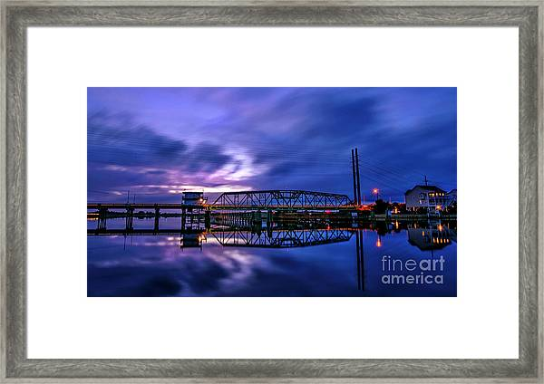 Framed Print featuring the photograph Night Swing Bridge by DJA Images