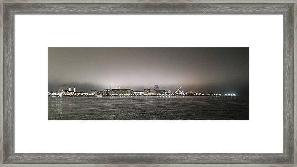 Night View Ocean City Downtown Skyline Framed Print