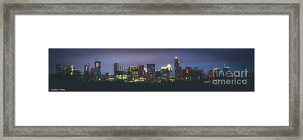 Night View Of Downtown Skyline In Winter Framed Print