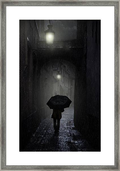 Night Walk In The Rain Framed Print