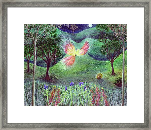 Night With Fire Bird And Sacred Bush Framed Print