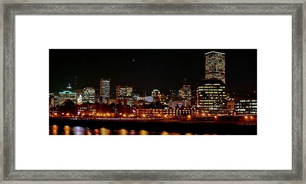 Nighttime In Pdx Framed Print