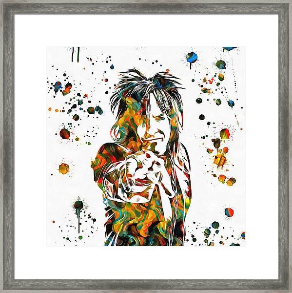 Nikki Sixx Paint Splatter Framed Print