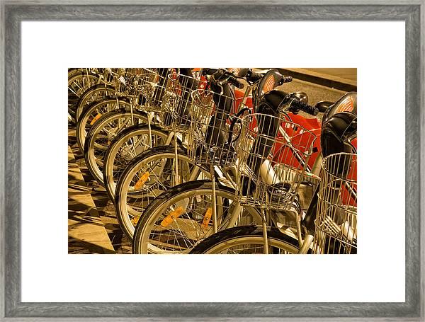 Bikes For Hire In Lyon Framed Print