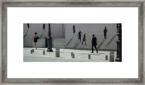 Nine Pedestrians At Place Vendome Framed Print