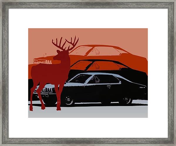 Nissan 210 With Deer 3 Framed Print