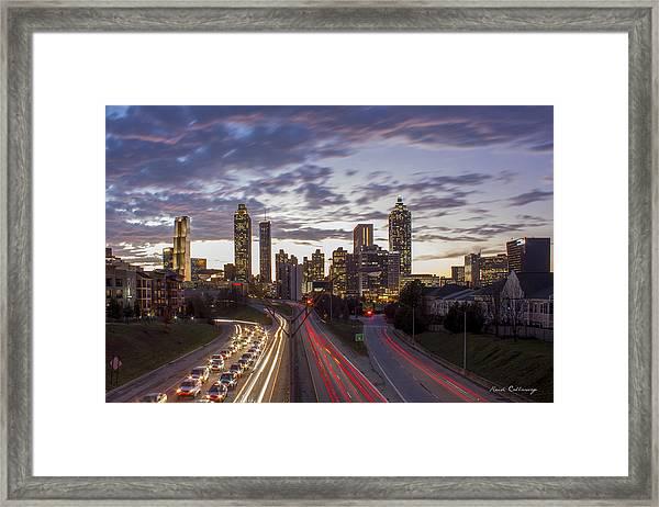 Nitelites Downtown Atlanta Sunset Framed Print