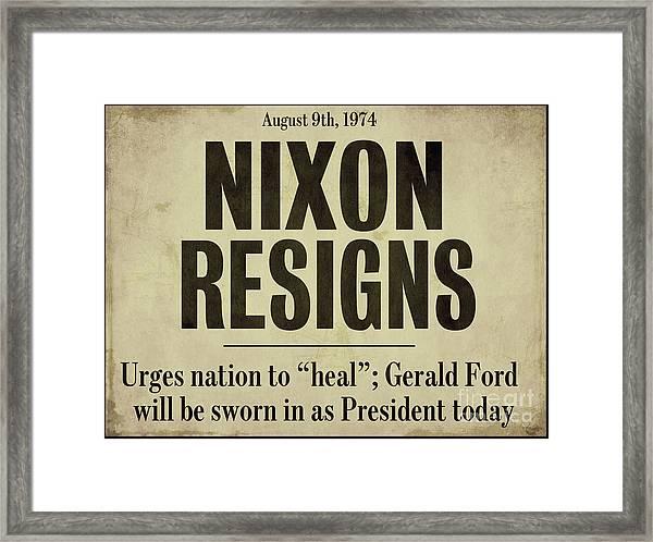 Nixon Resigns Newspaper Headline Framed Print