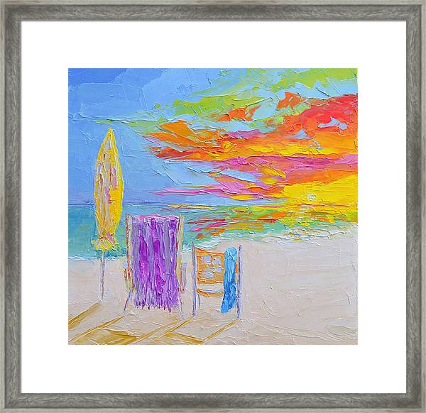 No Need For An Umbrella - Sunset At The Beach - Modern Impressionist Knife Palette Oil Painting Framed Print
