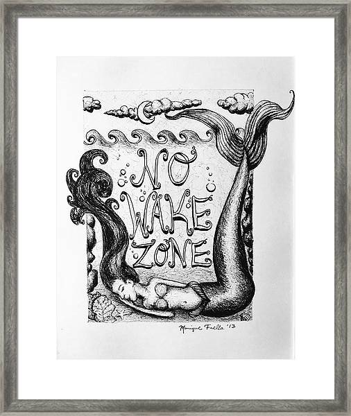 No Wake Zone, Mermaid Framed Print