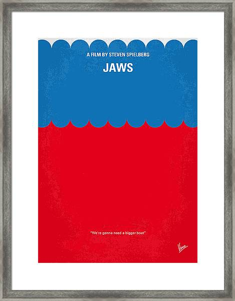 No046 My Jaws Minimal Movie Poster Framed Print