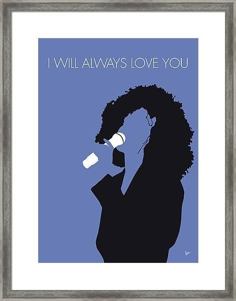 No108 My Whitney Houston Minimal Music Poster Framed Print