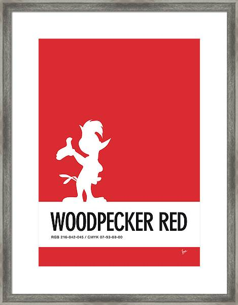 No12 My Minimal Color Code Poster Woody Woodpecker Framed Print
