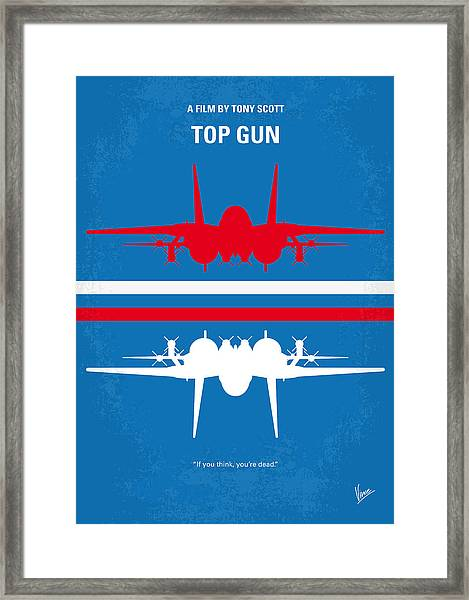 No128 My Top Gun Minimal Movie Poster Framed Print