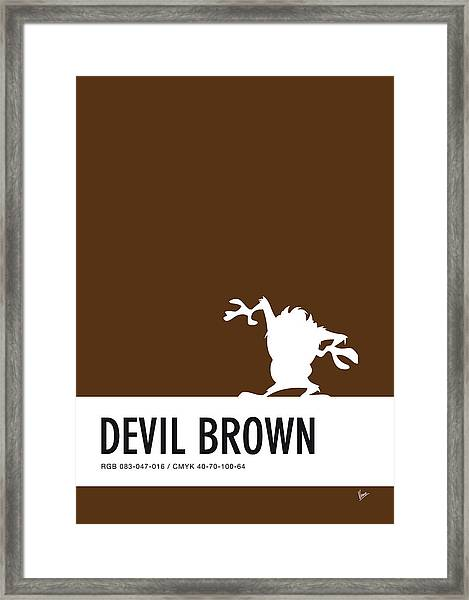 No16 My Minimal Color Code Poster Tasmanian Devil Framed Print