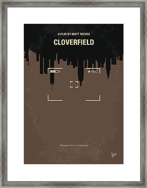 No203 My Cloverfield Minimal Movie Poster Framed Print