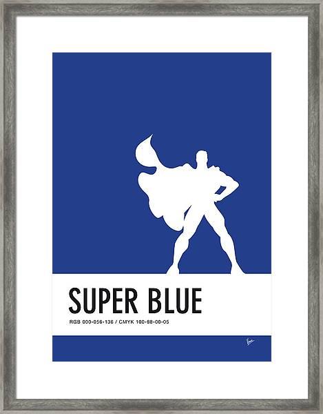 No23 My Minimal Color Code Poster Superman Framed Print