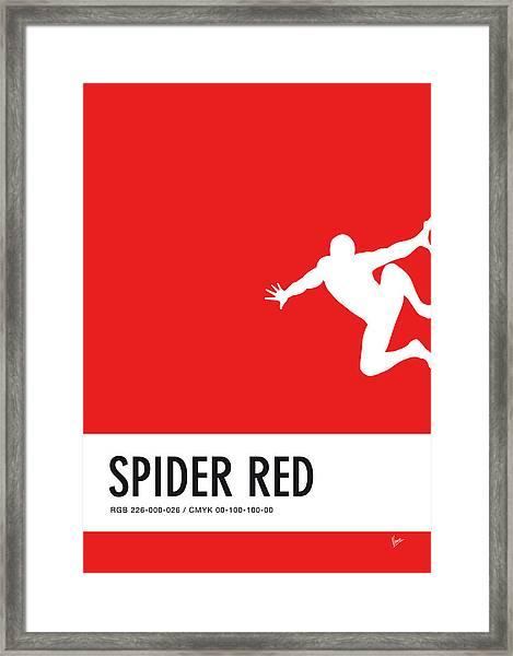 No24 My Minimal Color Code Poster Spiderman Framed Print