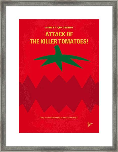 No499 My Attack Of The Killer Tomatoes Minimal Movie Poster Framed Print