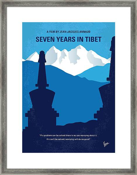 No559 My Seven Years In Tibet Minimal Movie Poster Framed Print