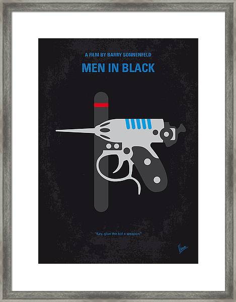 No586 My Men In Black Minimal Movie Poster Framed Print