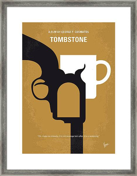 No596 My Tombstone Minimal Movie Poster Framed Print