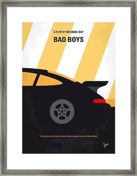 No627 My Bad Boys Minimal Movie Poster Framed Print