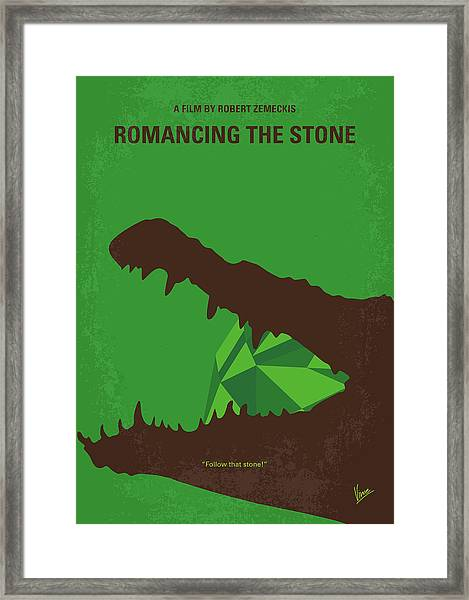 No732 My Romancing The Stone Minimal Movie Poster Framed Print