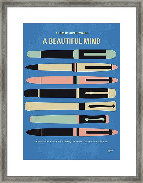 No809 My A Beautiful Mind Minimal Movie Poster Framed Print