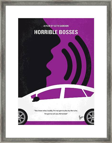 No892 My Horrible Bosses Minimal Movie Poster Framed Print