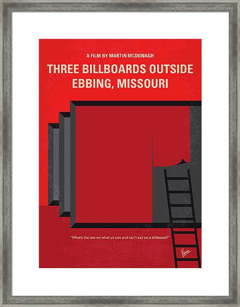 No900 My Three Billboards Minimal Movie Poster Framed Print