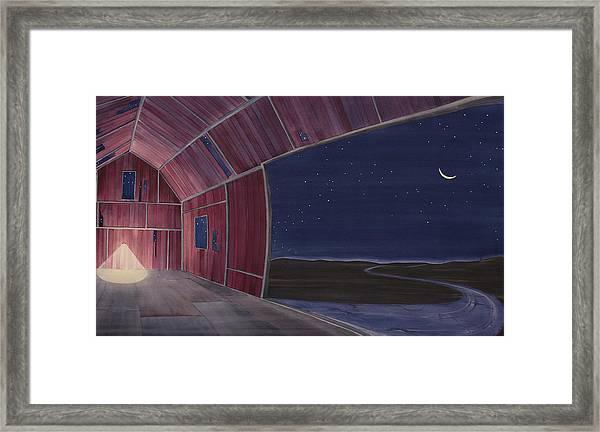 Nocturnal Barnscape Framed Print