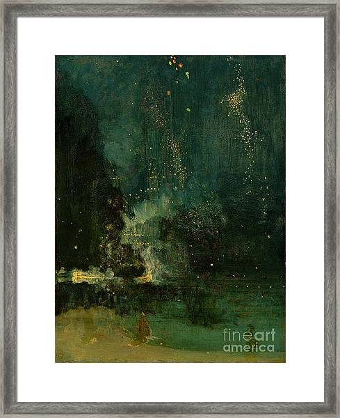 Nocturne In Black And Gold - The Falling Rocket Framed Print