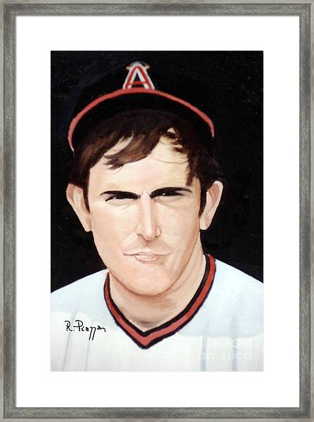 Framed Print featuring the painting Nolan Ryan With The Angels by Rosario Piazza
