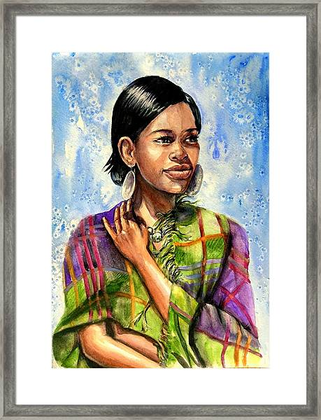 Framed Print featuring the painting Norah by Katerina Kovatcheva