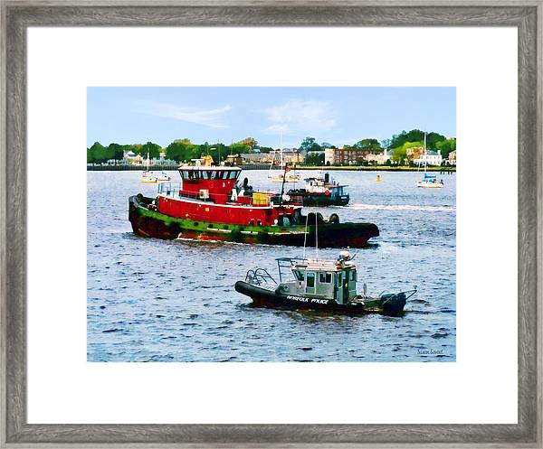 Norfolk Va - Police Boat And Two Tugboats Framed Print