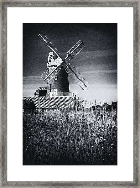 Norfolk Windmill Bw Framed Print