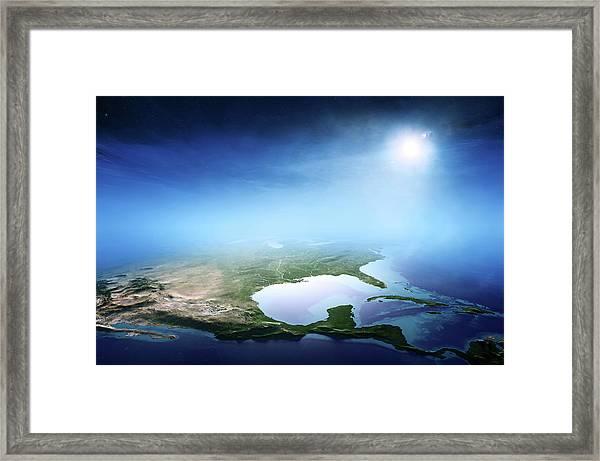 North America Sunrise Aerial View Framed Print