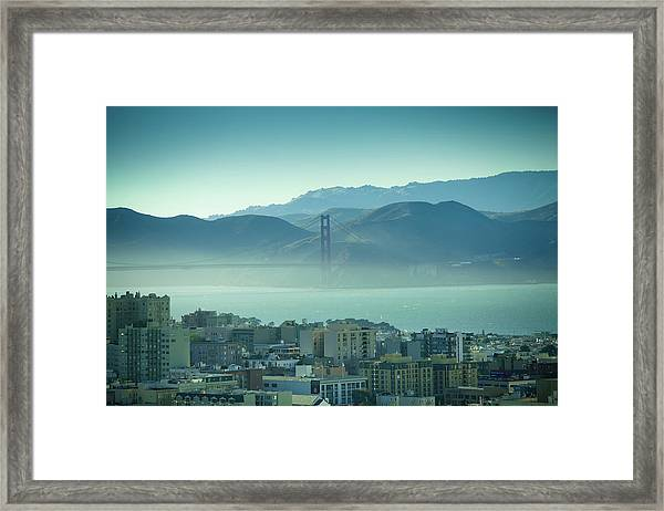 North Beach And Golden Gate Framed Print