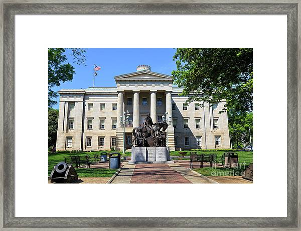 North Carolina State Capitol Building With Statue Framed Print