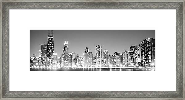 North Chicago Skyline Panoramic Photo Framed Print