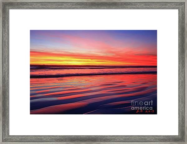 Oceanside Sand Ripples Framed Print