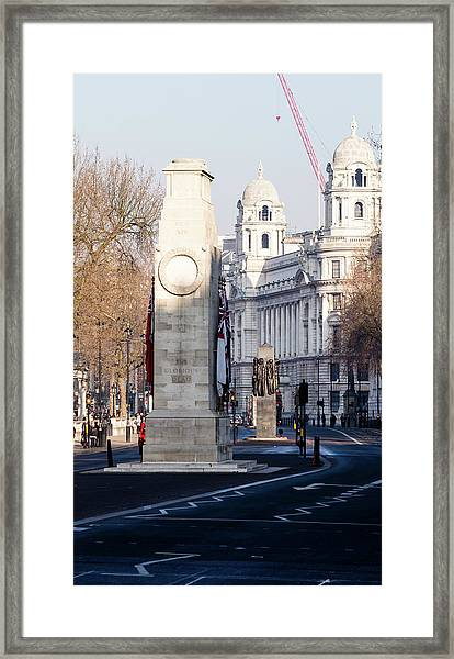 North Facade Of Cenotaph War Memorial Whitehall London Framed Print