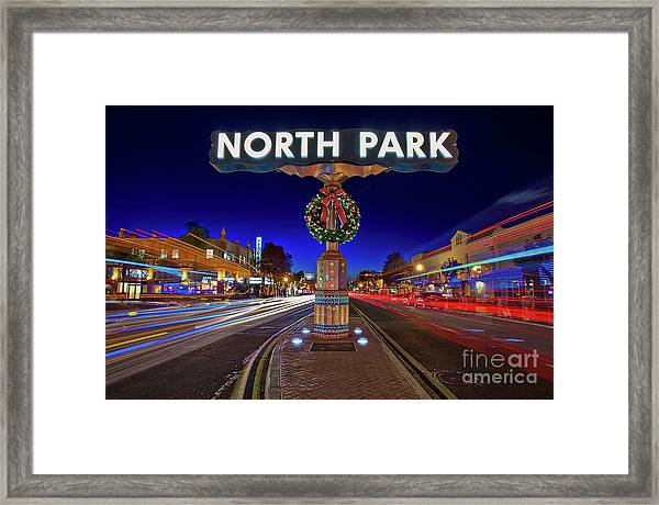 Framed Print featuring the photograph North Park Christmas Rush Hour by Sam Antonio Photography