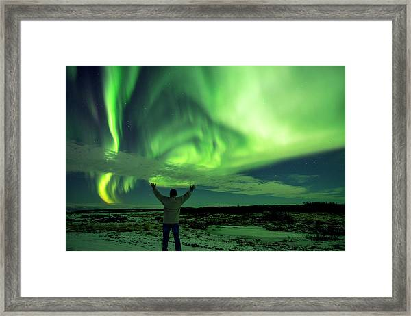 Northern Light In Western Iceland Framed Print